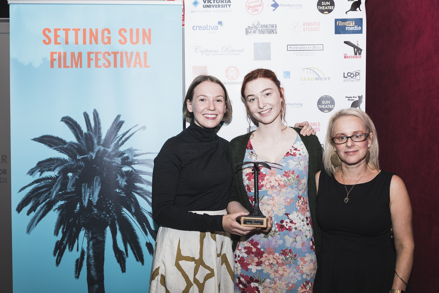 Director Nina Buxton,  Actress Bethany Whitmore and Festival Director Anna Bourozikas